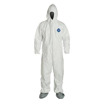 Coveralls with Respirator Fit Hood, Elastic Wrists & Attached Skid-Resistant Boots